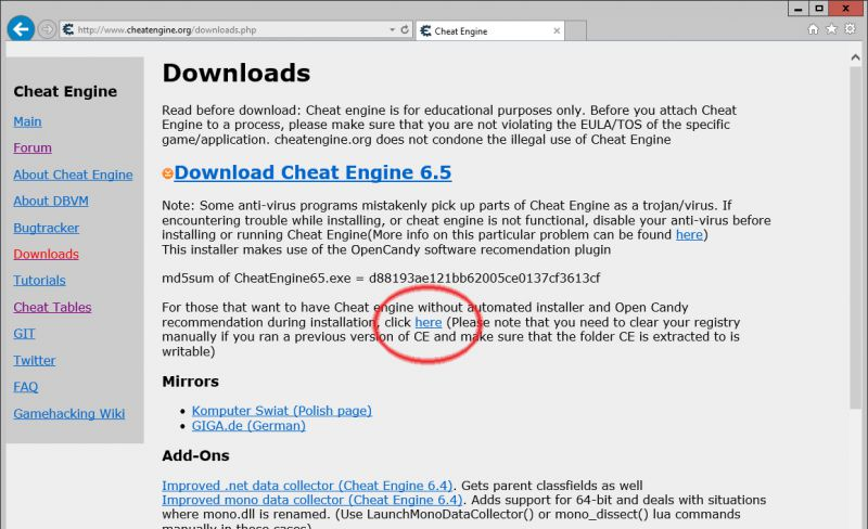Cheat Engine ad-free download link